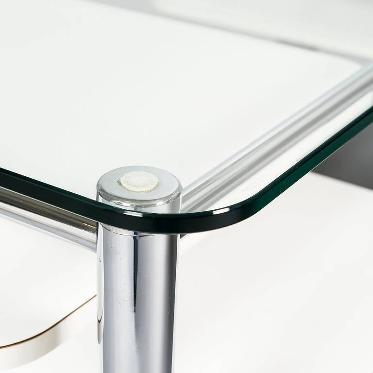 Rectangular 1970s Chrome Glass Topped Coffee Table With Swivel Out Shelves At 1stdibs