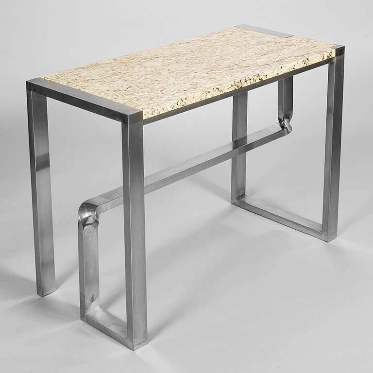 steel console table with marble top for sale at 1stdibs. Black Bedroom Furniture Sets. Home Design Ideas