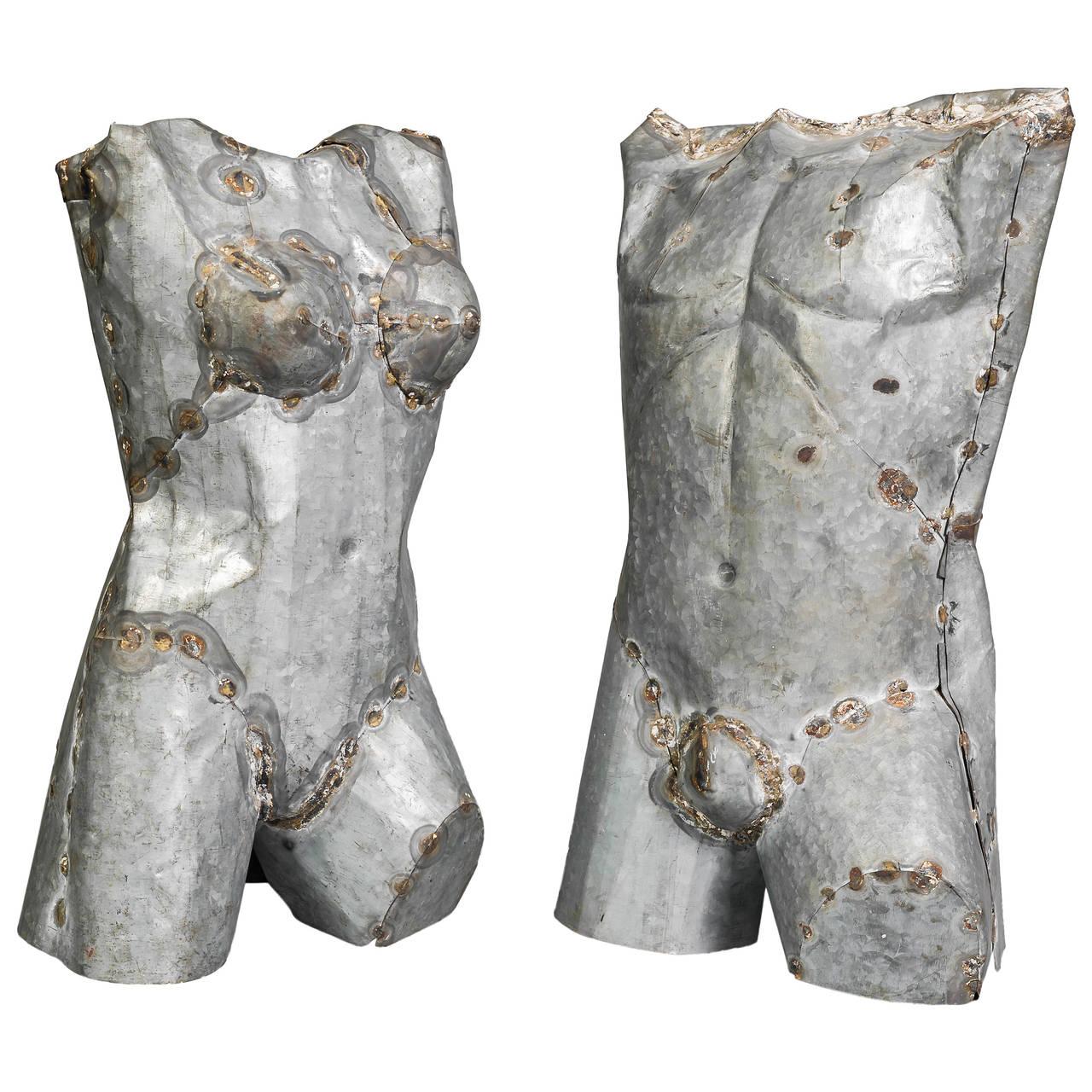 Pair of Torso Sculptures in Zinc For Sale