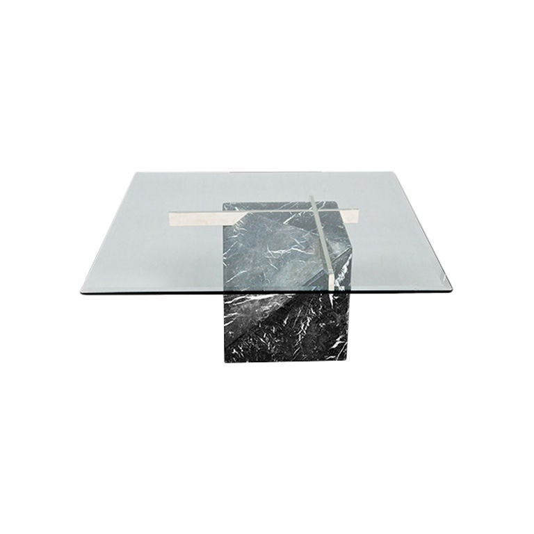 artedi marble base and glass top coffee table 1970 80s at