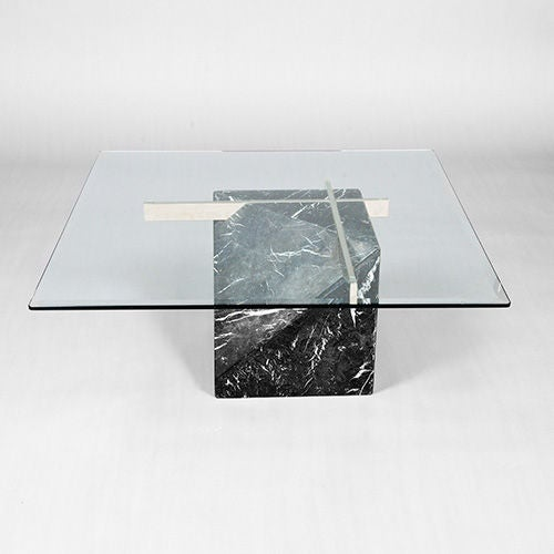 Artedi Marble Base And Glass Top Coffee Table 1970 80s At 1stdibs