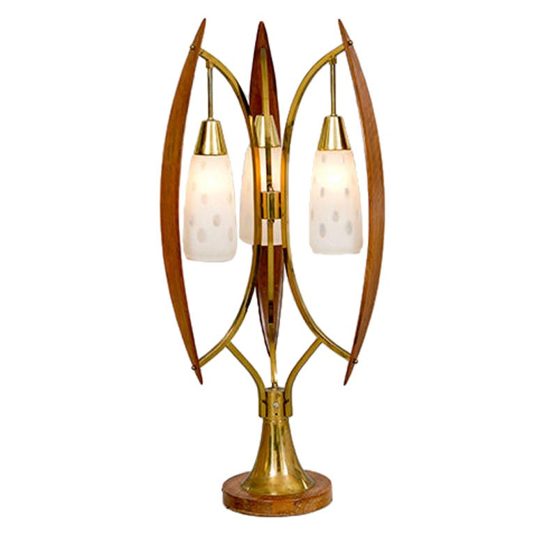 Wood And Brass Three Shade Table Lamp Usa 1950s At 1stdibs