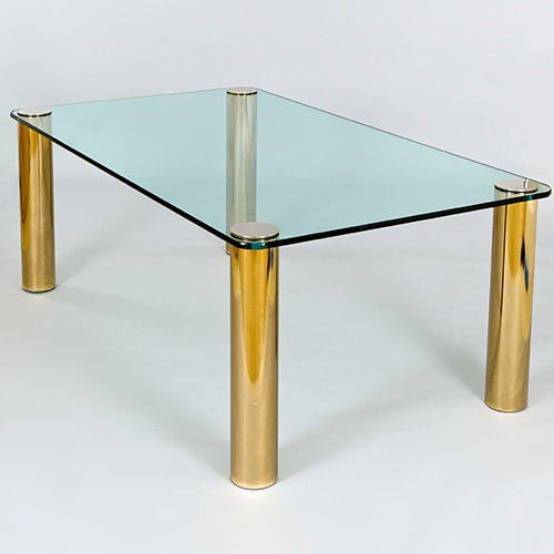 Pace Dining Table with Patinated Brass Legs and Glass Top 2