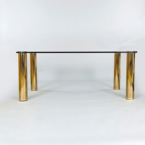 Pace Dining Table with Patinated Brass Legs and Glass Top 3