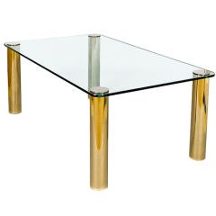 Pace Dining Table with Patinated Brass Legs and Glass Top