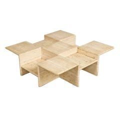 Tiered Travertine Centre Table, France, 1970s