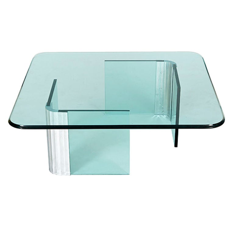 Low Glass Coffee Table With Chrome And Glass Legs By Pace At 1stdibs