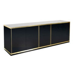 Large Four Door Black Lacquered Sideboard, France, 1970s