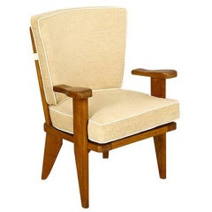 Pair of Guillerme et Chambron Oak Armchairs with Rod Backs
