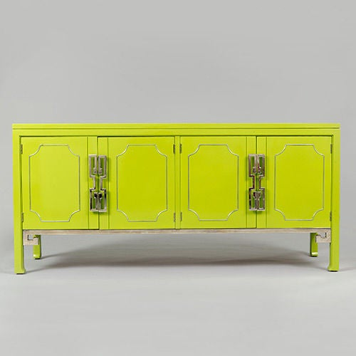 Lacquered Green Mastercraft Credenza with Greek Key Motif, USA image 2