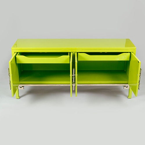 Lacquered Green Mastercraft Credenza With Greek Key Motif