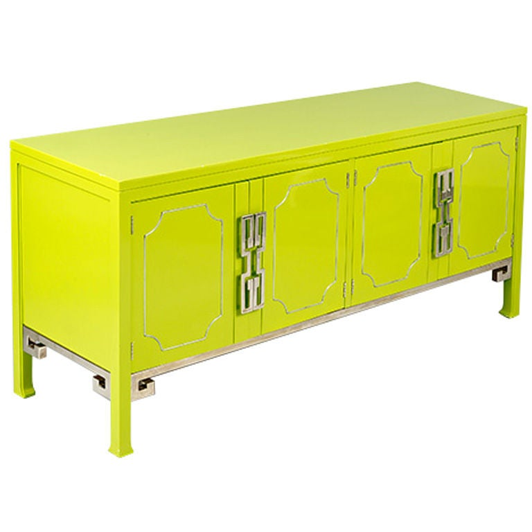 Lacquered Green Mastercraft Credenza with Greek Key Motif, USA