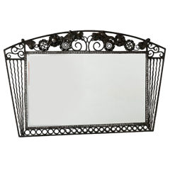 Fine Wrought Iron Mirror with Floral Motif, France, 1950s