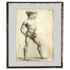 Figural Study in Pencil in Floating Frame, Couzet, Early 19th Century
