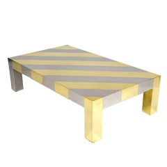 Diagonal Striped Chrome and Brass Centre Table