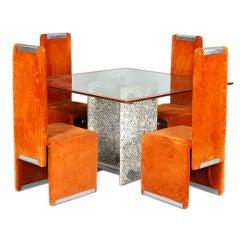 Esstisch mit Vier Stühlen von Saporiti, Italien, um 1970er