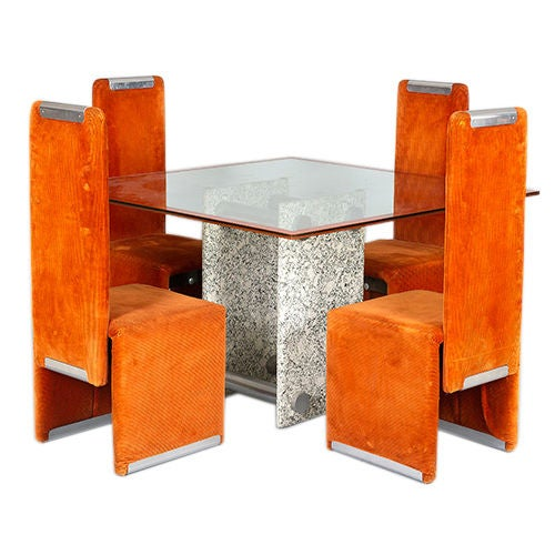 Dining Table and Four Chairs by Saporiti , Italy, circa 1970s For Sale