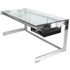 Chrome and Glass Desk by Gilles Bouchez, France, c1970