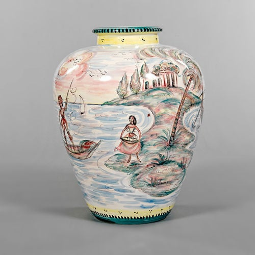 Lacquered ceramic vase depicting water scene, Germany, 1950s.