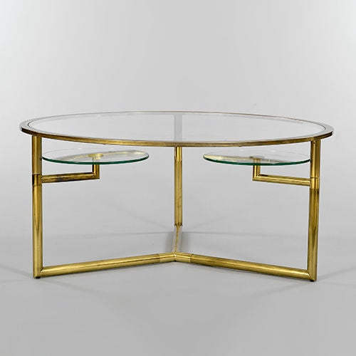 Brass And Glass Coffee Table With Rotating Cup Holders At