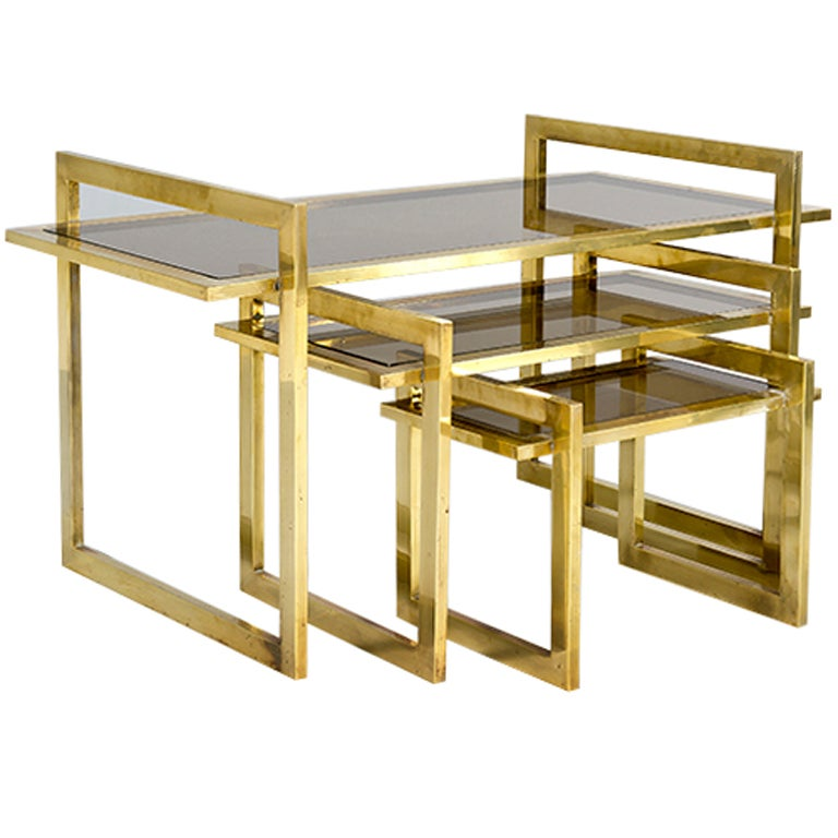 Set of Brass Nesting Tables, Italy, circa 1950s