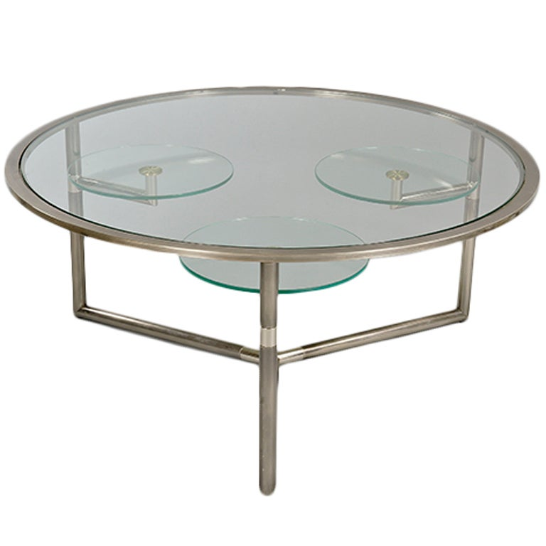 Chrome and Glass Tiered Coffee Table at 1stdibs