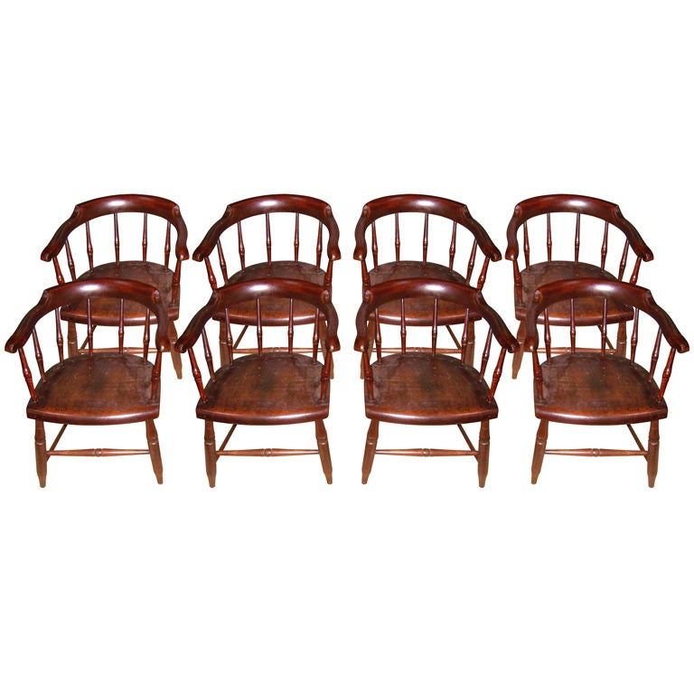 Set Of 8 Windsor Captain S Chairs At 1stdibs