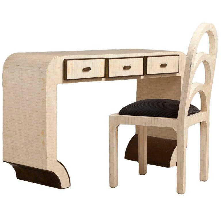A Tessellated Bone Veneered Three Drawer Desk/Vanity Table 1