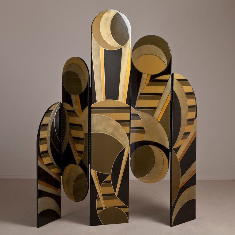 An Art Deco Inspired Five Part Lacquered Screen 1986 2
