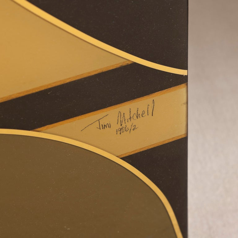 An Art Deco Inspired Five Part Lacquered Screen 1986 5