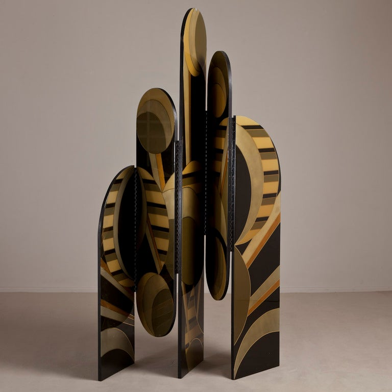An Art Deco Inspired Five Part Lacquered Screen 1986 3
