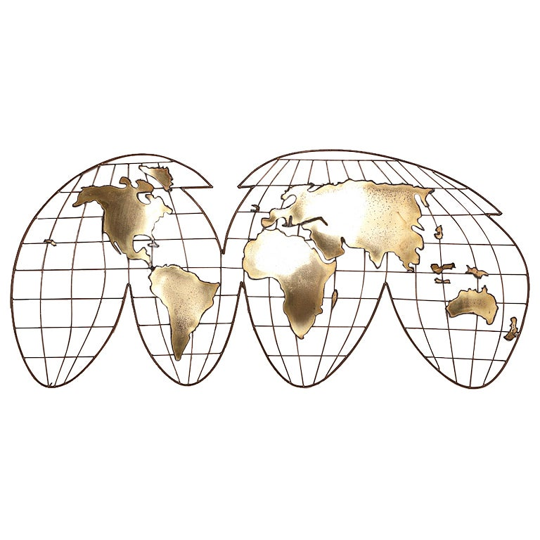 A curtis jere metal world map wall sculpture 1981 at 1stdibs a curtis jere metal world map wall sculpture 1981 for sale gumiabroncs Images