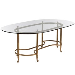 Large Brass Based Brass Desk/Centre Table, 1960s
