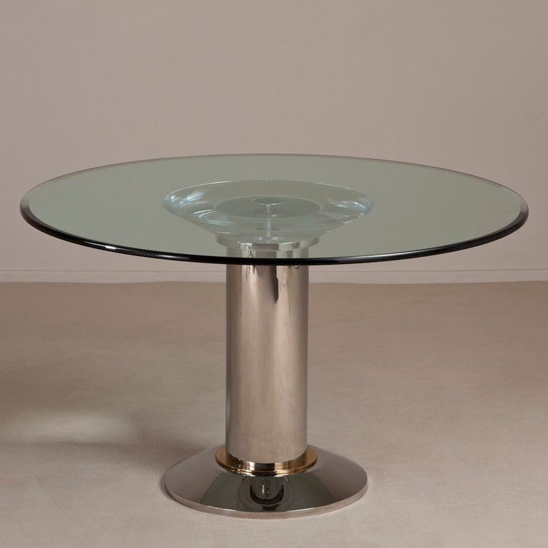 A Lucite And Chrome Pedestal Based Dining Table 1970s At 1stdibs