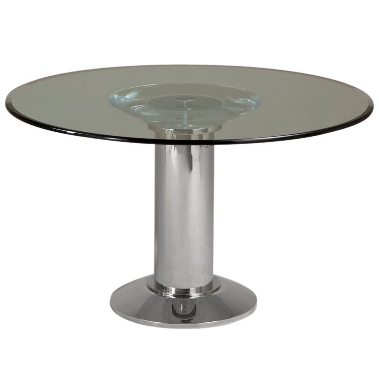 Lucite and Chrome Pedestal Based Dining Table 1970s at 1stdibs