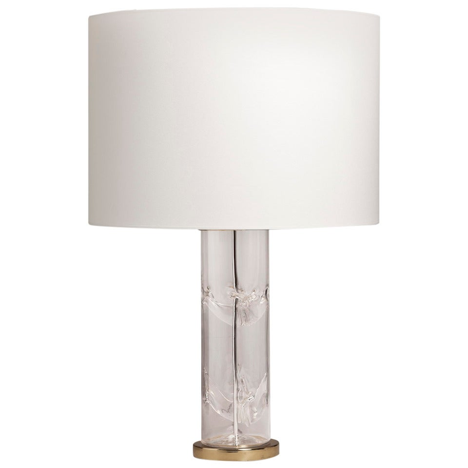A Tall Cylindrical Glass Table Lamp With Brass Base 1970s
