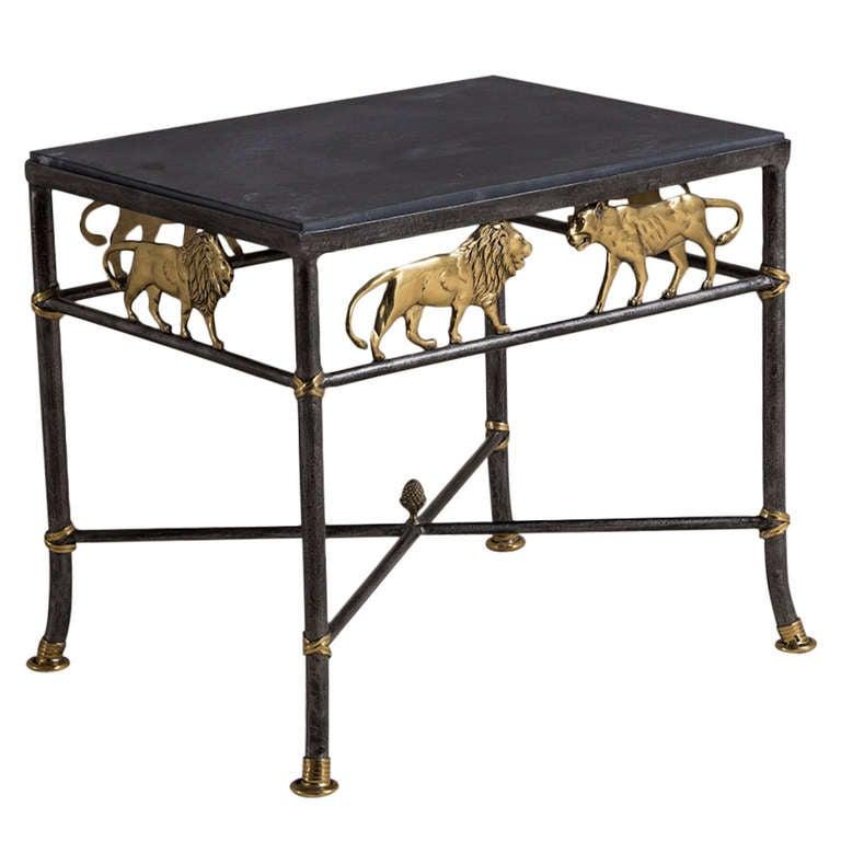 A mastercraft designed wrought iron and brass side table for Wrought iron side table