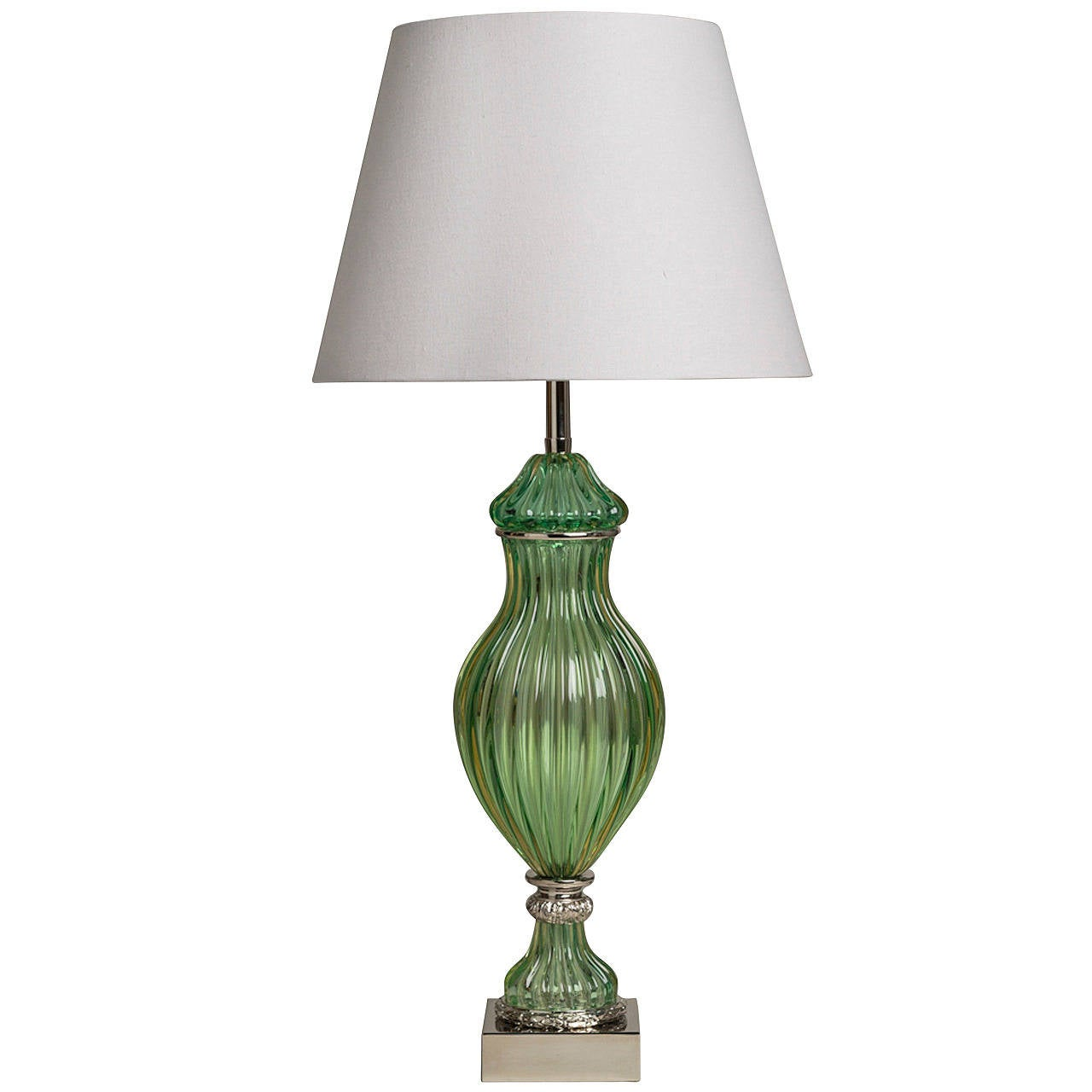 Superb Seguso for Marbro Murano Green Glass Lamp, 1950s