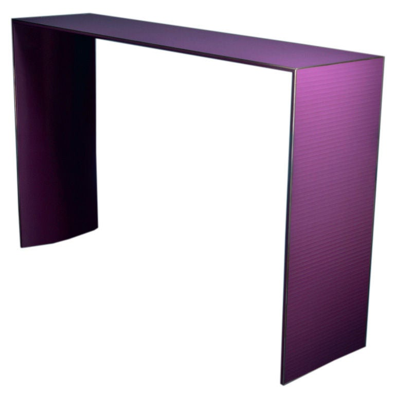 A purple skinny lacquered console table by talisman for for Skinny dressing table
