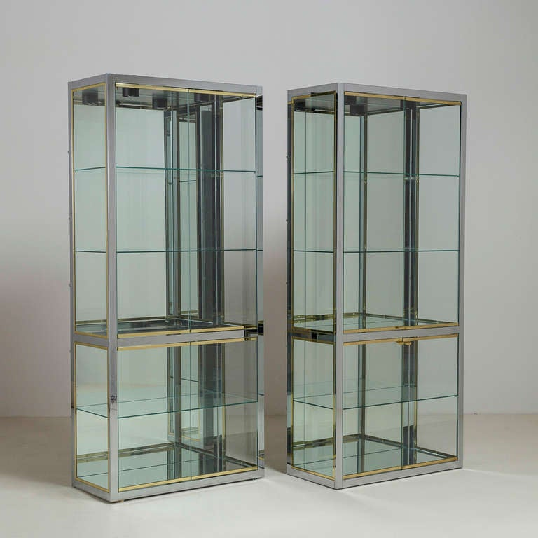Pair Of Dia Chrome And Brass Glazed Cabinets 1980s For