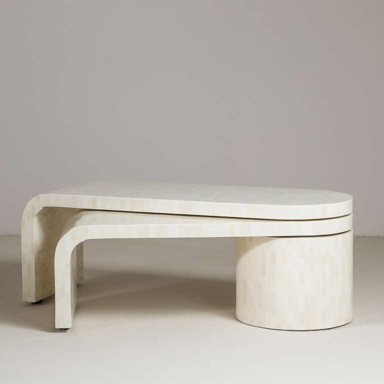 A Tessellated Bone Waterfall Swivel Extending Coffee Table 1970s At 1stdibs