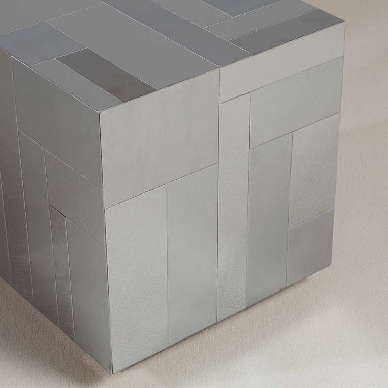 Late 20th Century A Paul Evans Style Chrome Cube Side Table 1980s For Sale