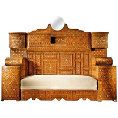 Anfibio Bed By Alessandro Becchi For Giovannetti Large Intricately and Extensively Inlaid Syrian Sofa, circa 1880