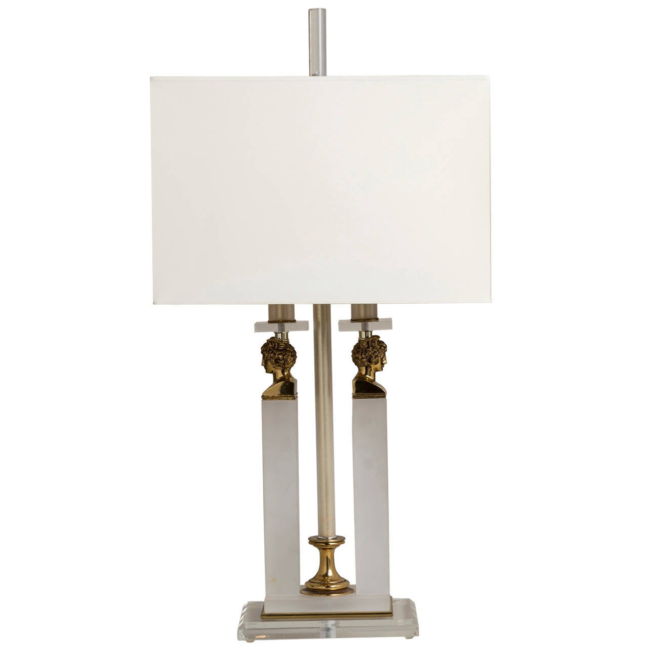 Single Lucite and Brass Neoclassical Style Table Lamp 1970s