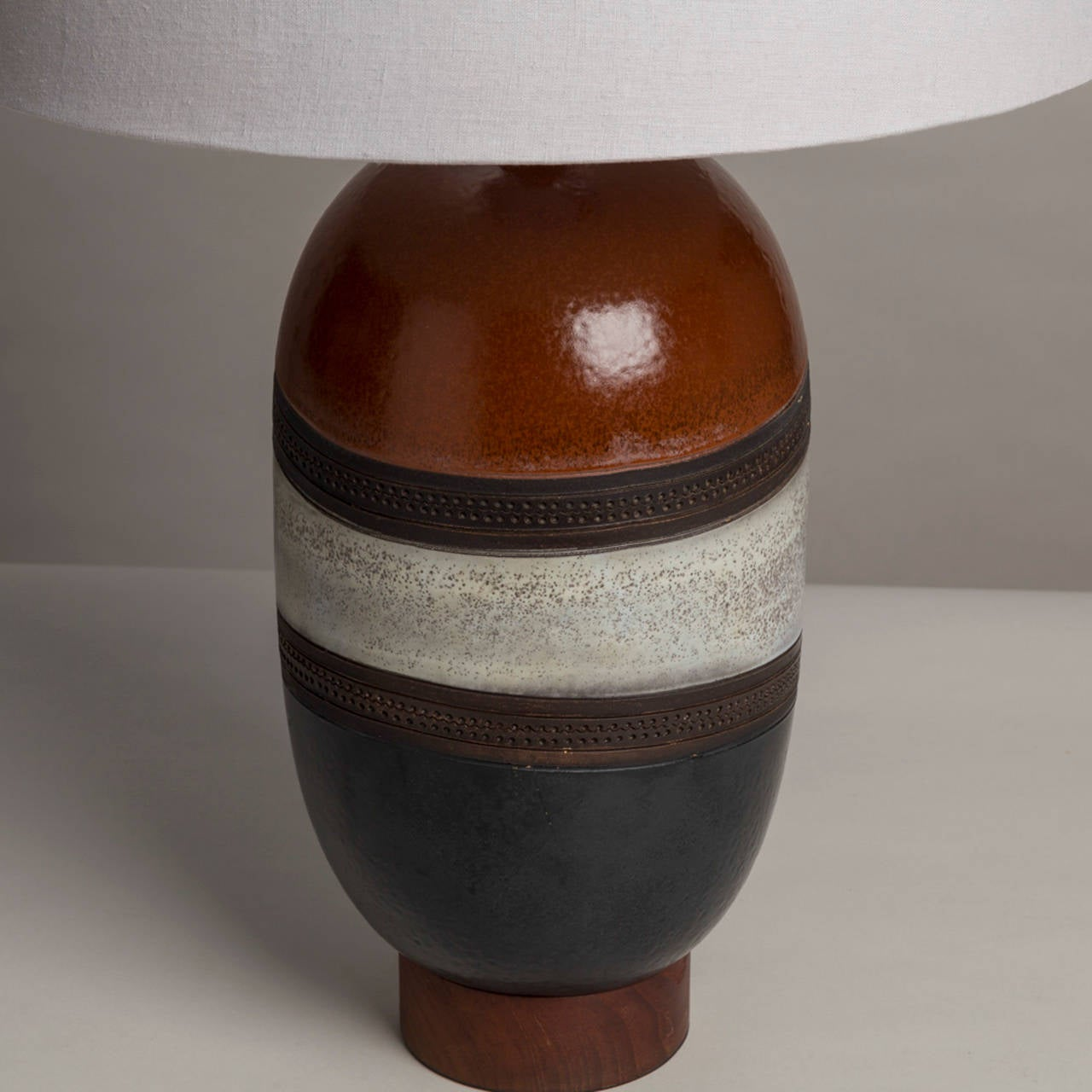 Single Italian Glazed Ceramic Table Lamp, 1970s In Excellent Condition For Sale In London, GB