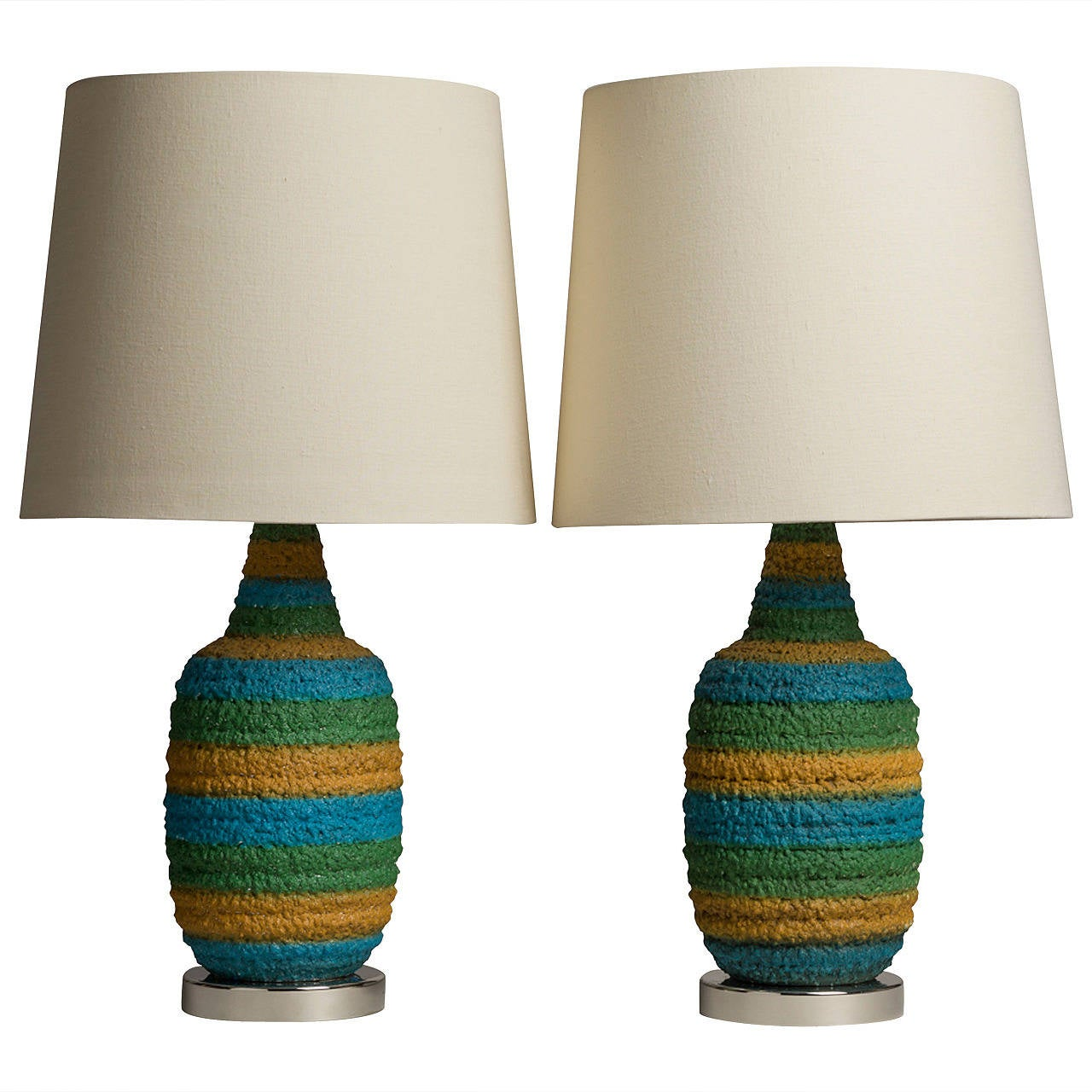 a pair of textured blue and green ceramic table lamps 1960s 1