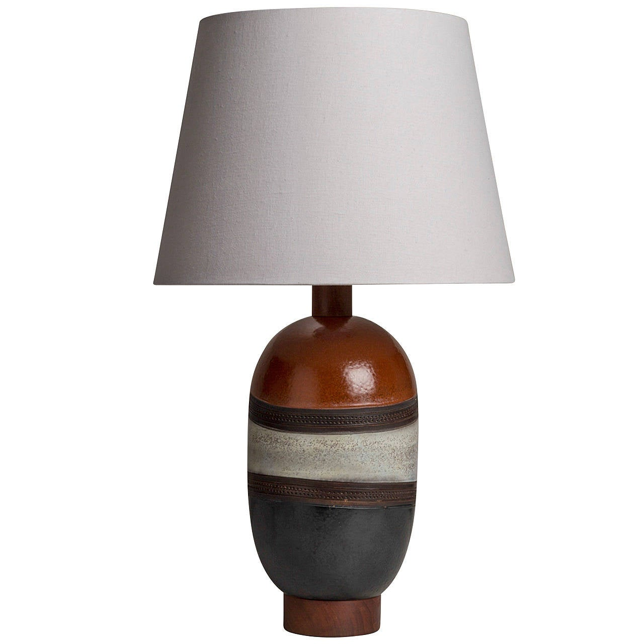 Single Italian Glazed Ceramic Table Lamp, 1970s