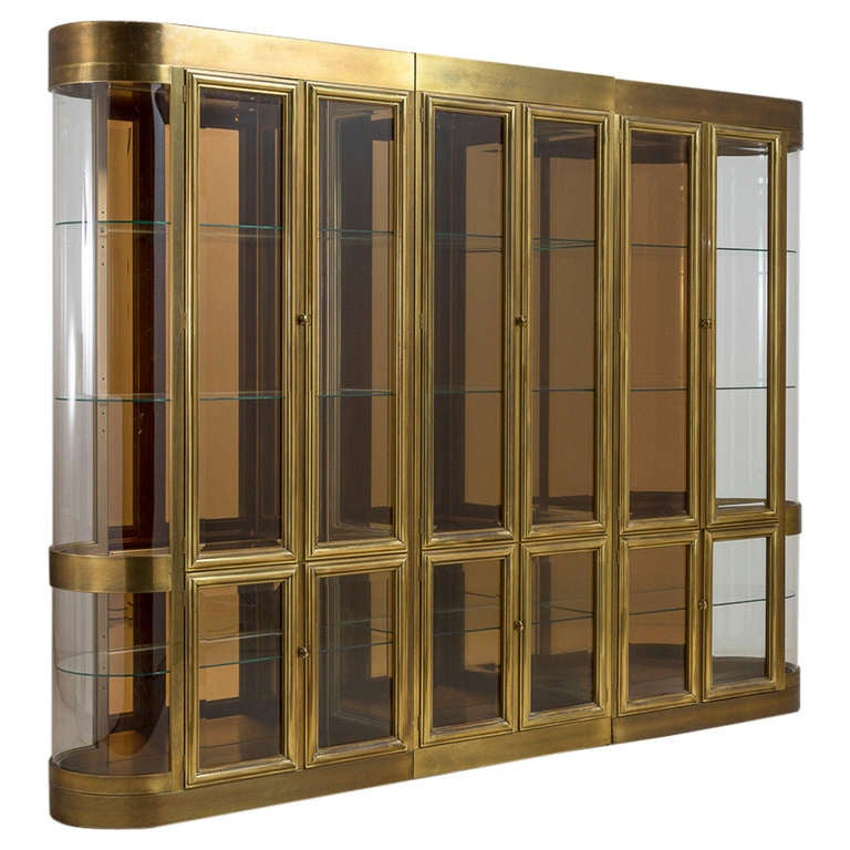 A large mastercraft three part brass display cabinet 1980s for Grandi case cabinate