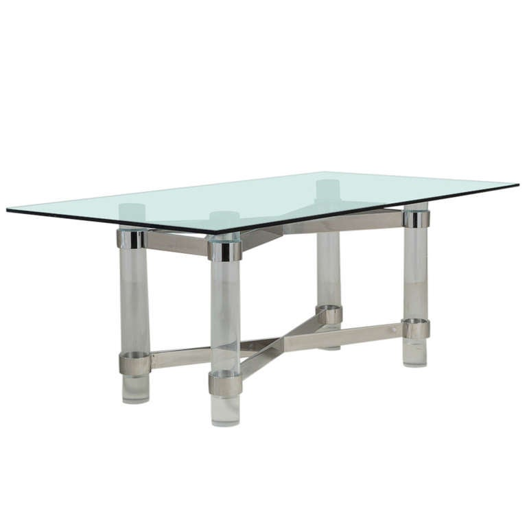 Superb Lucite and Chromium Steel Based Dining Table 1970s
