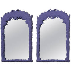 Pair of Purple Mirrors in the Manner of Serge Roche 1970s
